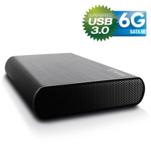 8,9cm S-ATA FANTEC DB-AluSky U3 6G schwarz, USB-B 3.0
