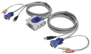 elek. Mini-KVM-Switch für 2 PCs + integrierten Kabeln 1,8 m