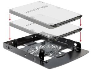 Delock Festplatten Einbaurahmen für 2x 6,4 cm (2,5) HDD/SSD