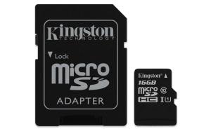 Kingston Canvas Select R80 microSDHC 16GB Kit, UHS-I U1,