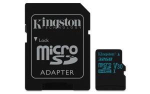 Kingston Canvas Go! microSDHC 32GB Kit, UHS-I U3, Class 10